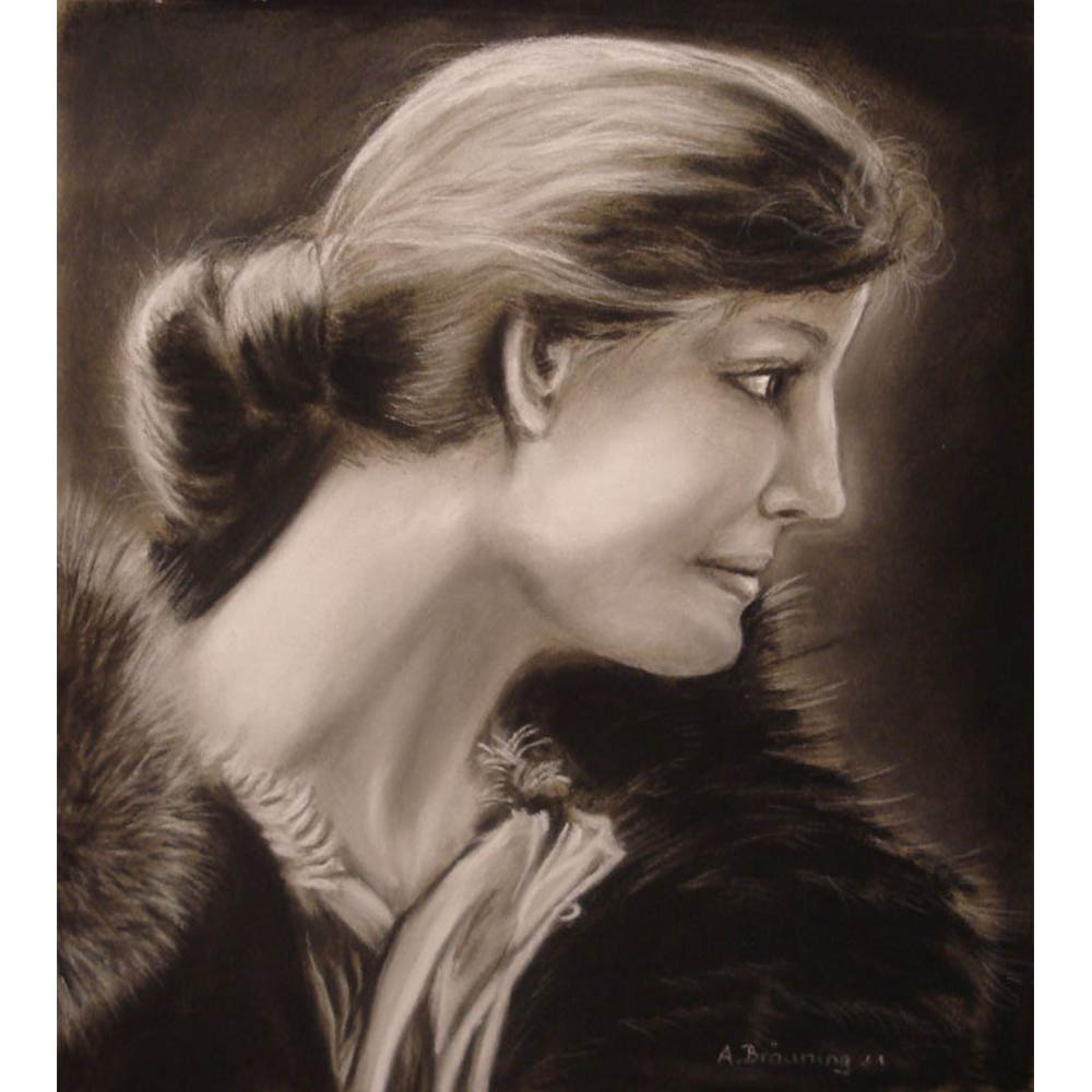 Andrea Bräuning, Maße 40cm x 30cm, Kohle auf Papier